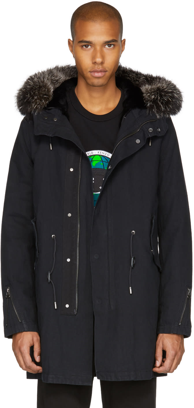 Image of Yves Salomon Black Fur-lined Parka