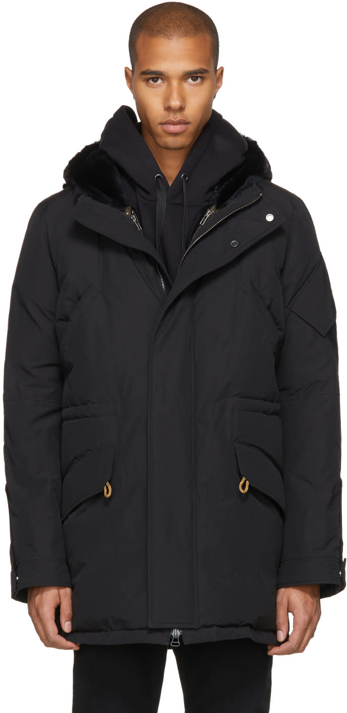 Image of Yves Salomon Black Down and Fur Parka