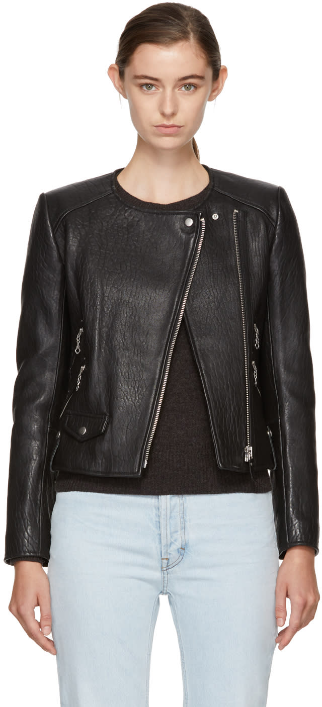 Image of Isabel Marant Etoile Black Leather Biker Jacket