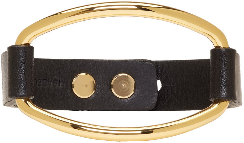 Image of Isabel Marant Black and Gold Leather Bracelet