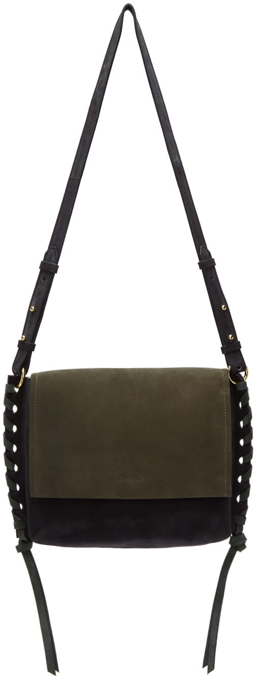 Image of Isabel Marant Black and Green Suede Asli Bag
