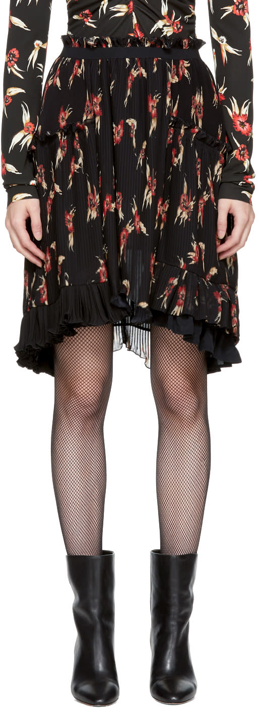Image of Isabel Marant Black and Red Floral Pleated Watford Minikirt