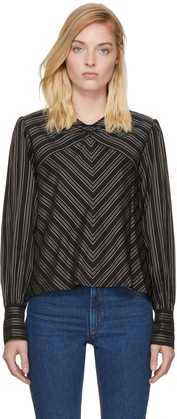 Image of Isabel Marant Black and White Striped Val Blouse