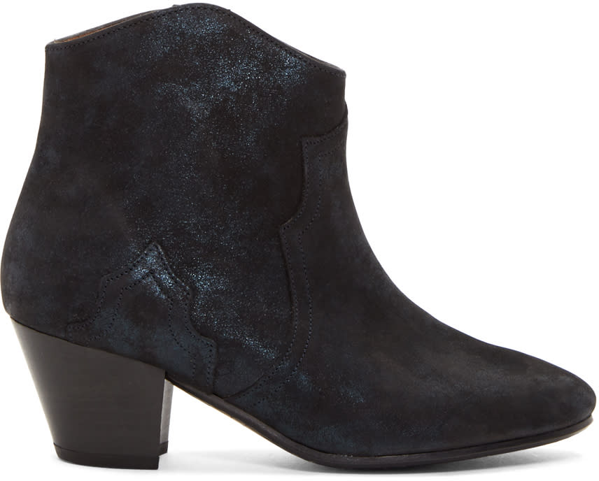 Isabel Marant Black Suede Dicker Boots