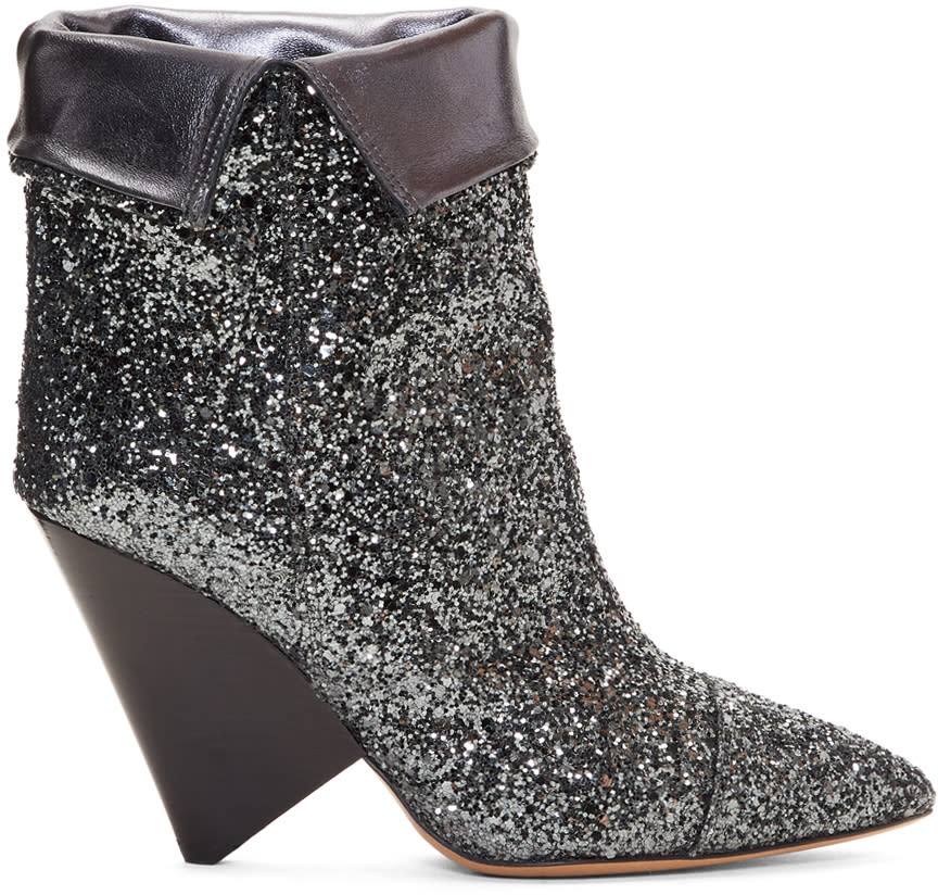 Isabel Marant Gunmetal Glitter Luliana Boots
