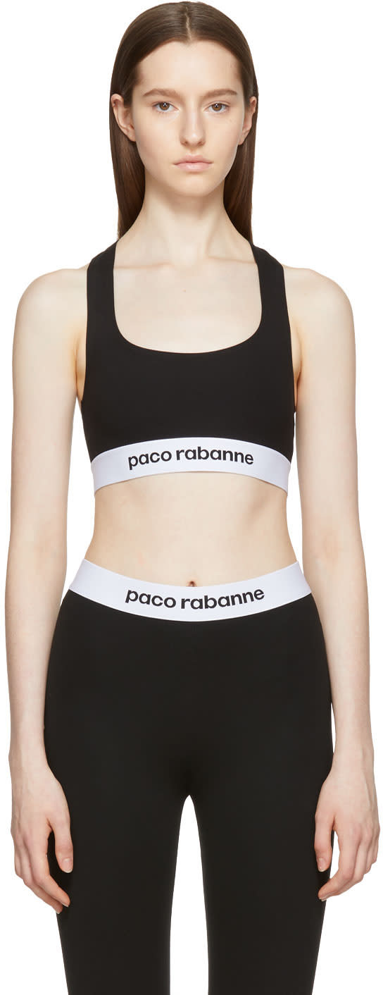 Image of Paco Rabanne Black Elasticized Sports Bra