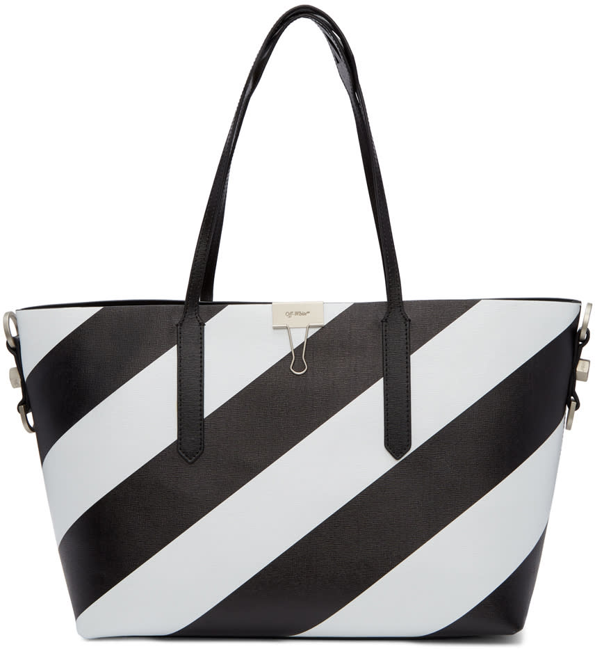 Image of Off-white Black and White All Over Diagonal Tote