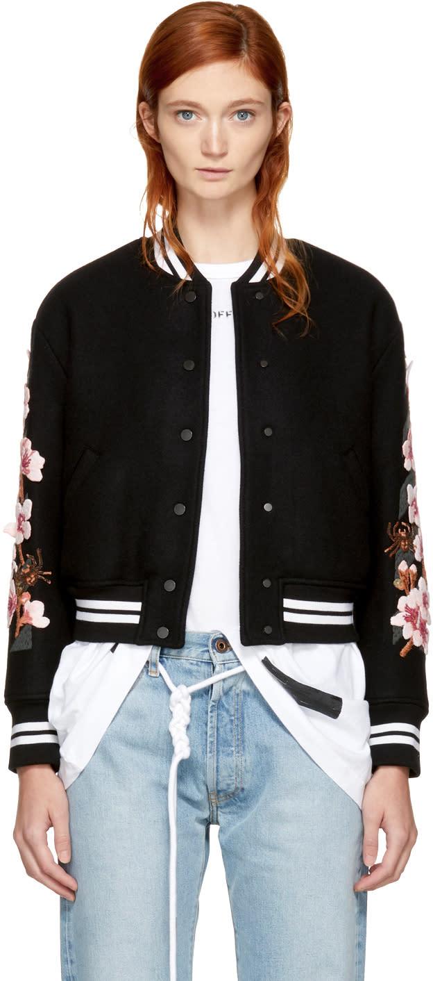 0cd1a3022ce0 Off white Black Diagonal Cherry Varsity Jacket