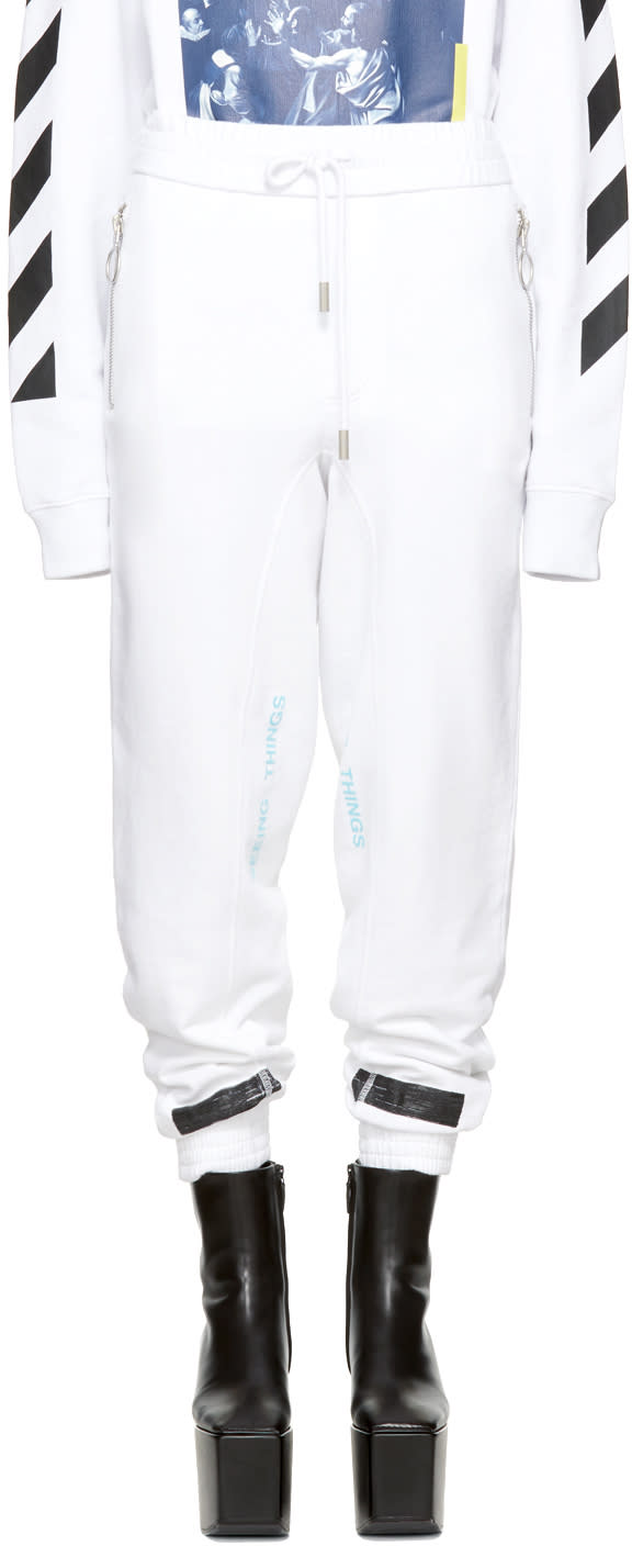 Off-white Pantalon De Survêtement Blanc Brushed Diagonal