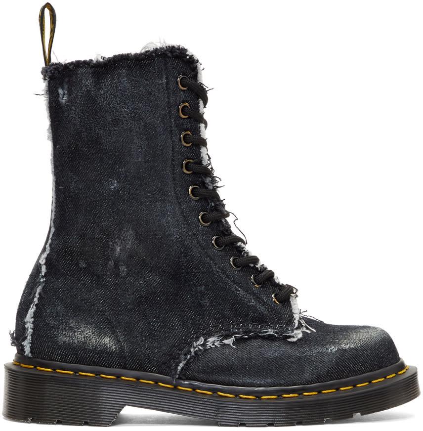 Off-white Black Dr. Martens Edition Denim 1490 Boots