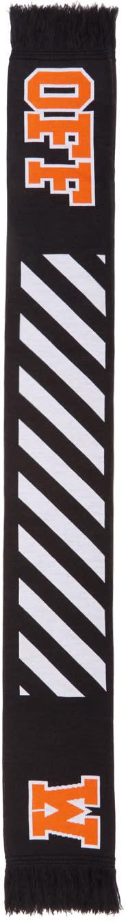 Image of Off-white Black and Orange Diagonal Big Logo Scarf