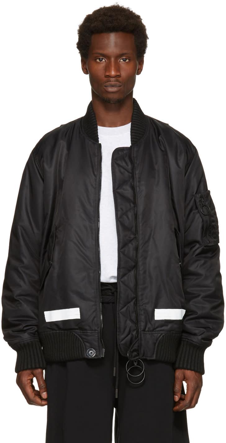 Off-white Black Brushed Bomber Jacket