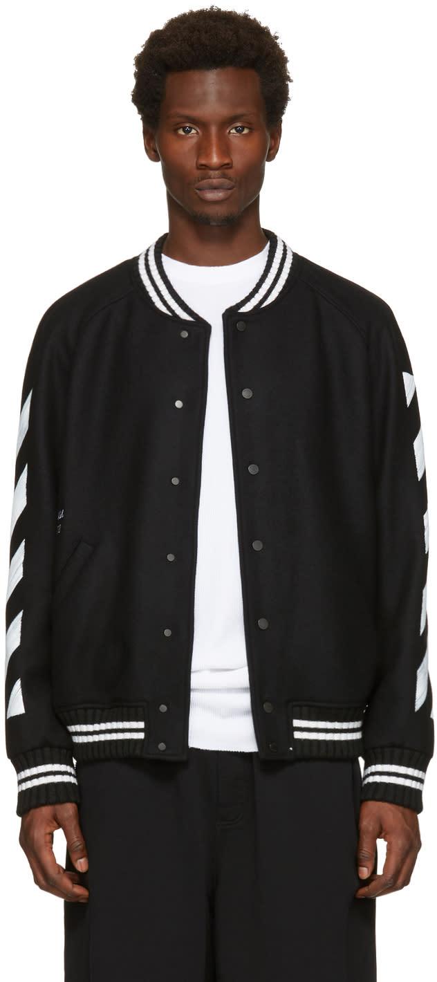 Off-white Black Diagonal Brushed Varsity Jacket
