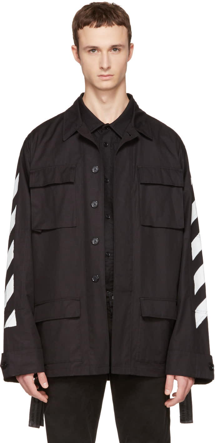Off-white Black Brushed Diagonal Field Jacket