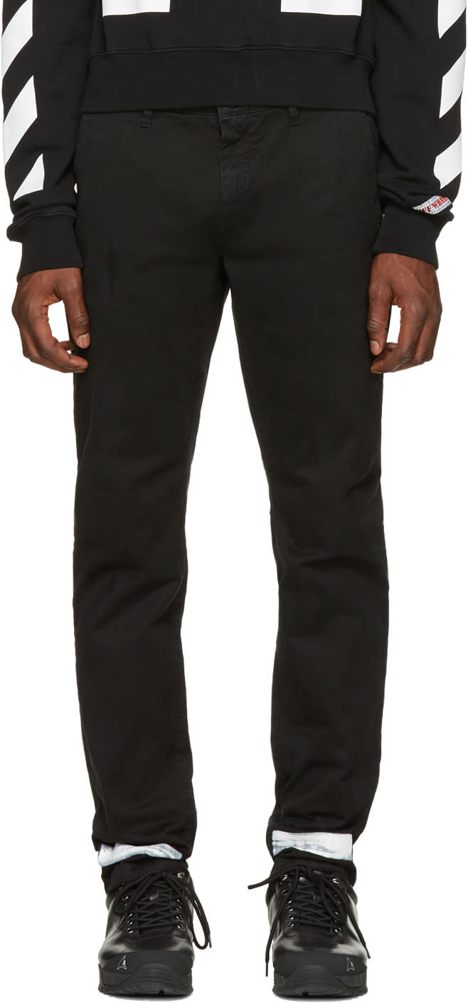 Off-white Pantalon Chinos Noir Diagonal Brushed