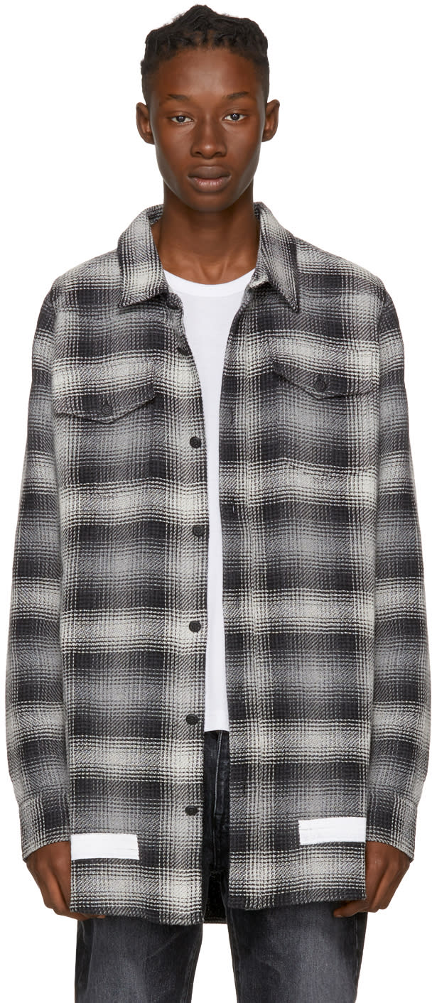 Image of Off-white Black and White Diagonal Check Shirt