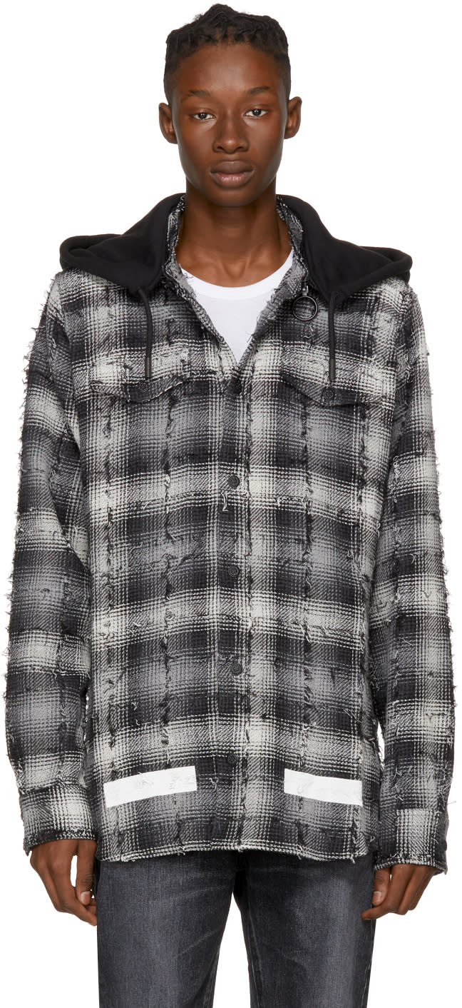 Image of Off-white Black and White Diagonal Check Hooded Shirt