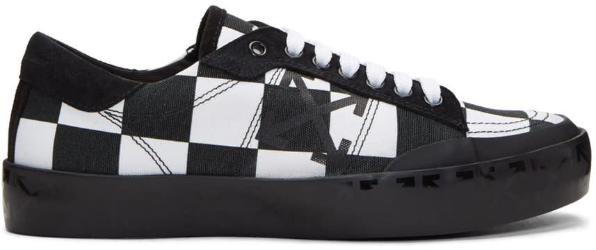 Image of Off-white Black and White Checkerboard Vulcanised Arrows Sneakers