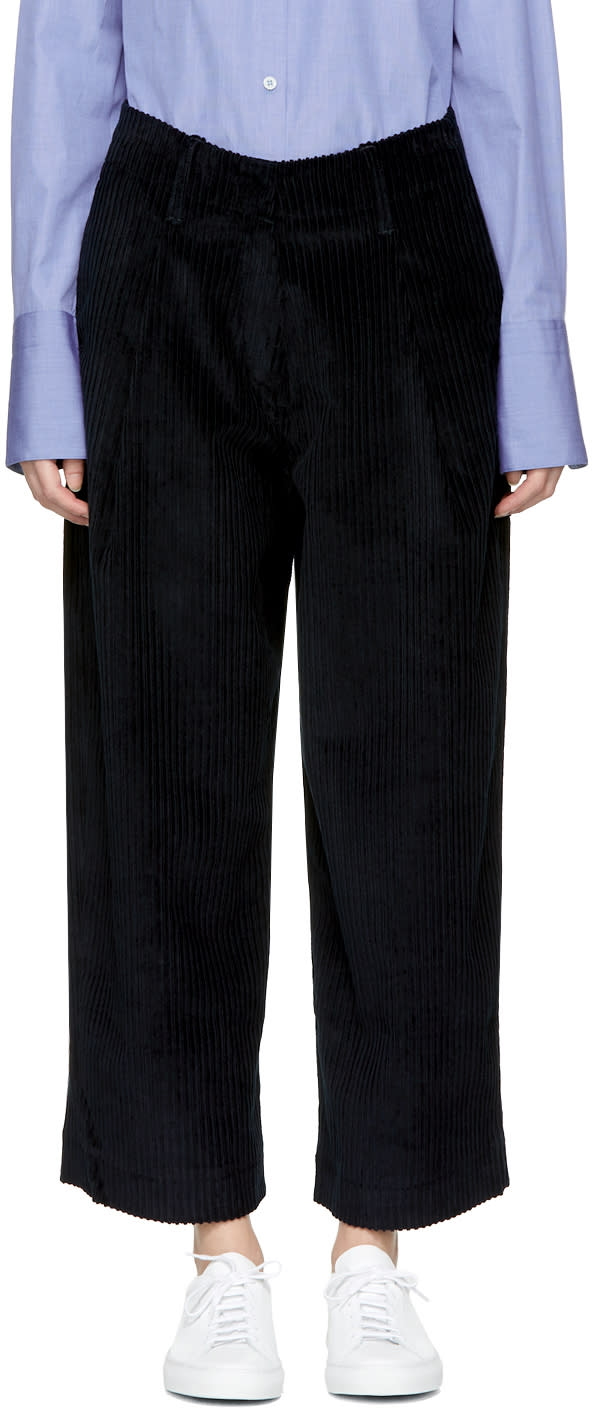 Image of Studio Nicholson Navy Corduroy Bye Trousers