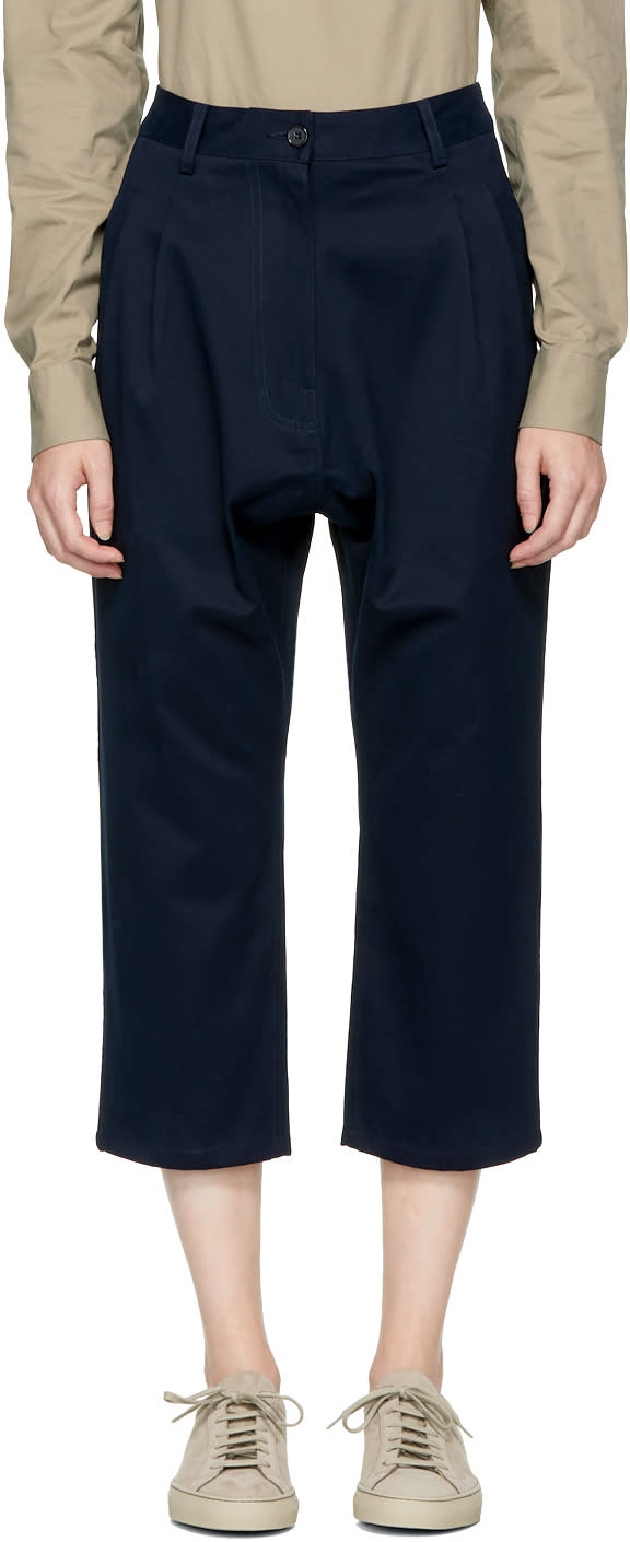 Image of Studio Nicholson Navy Bonsai Trousers