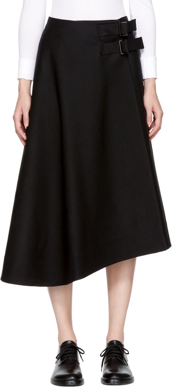 Image of Studio Nicholson Black Wool Kilt Wrap Skirt