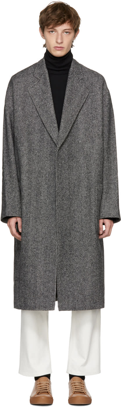 Image of Studio Nicholson Grey Herringbone Modem Coat