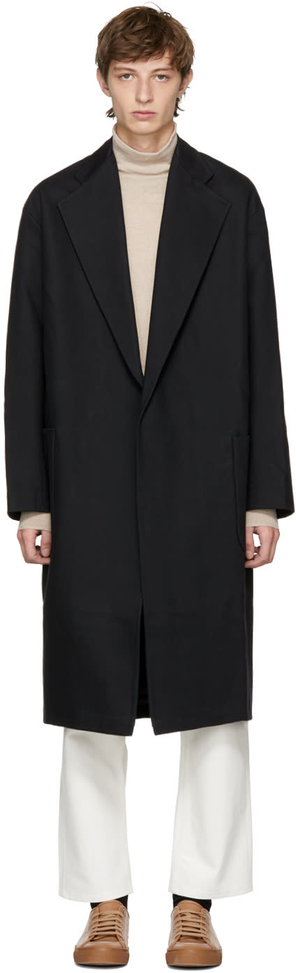 Image of Studio Nicholson Black Oversized Modem A Coat