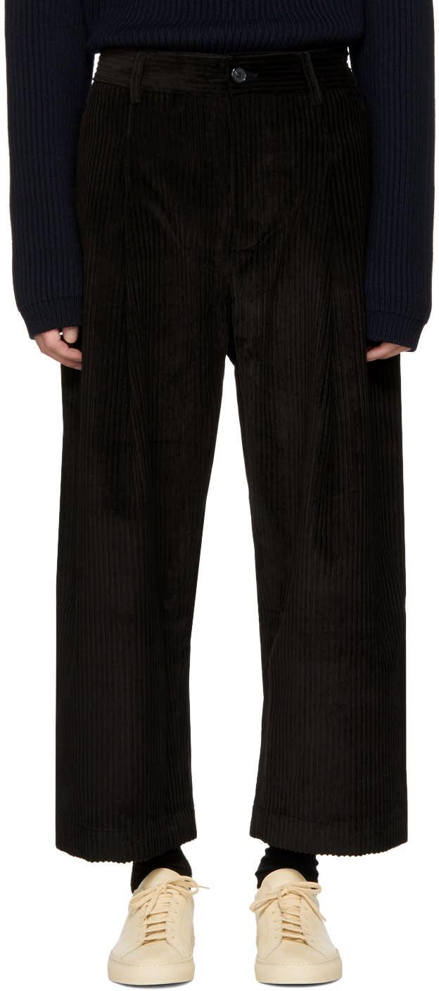 Image of Studio Nicholson Black Corduroy Bridges Trousers