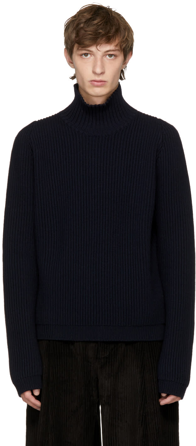 Image of Studio Nicholson Navy Ribbed Wool Turtleneck