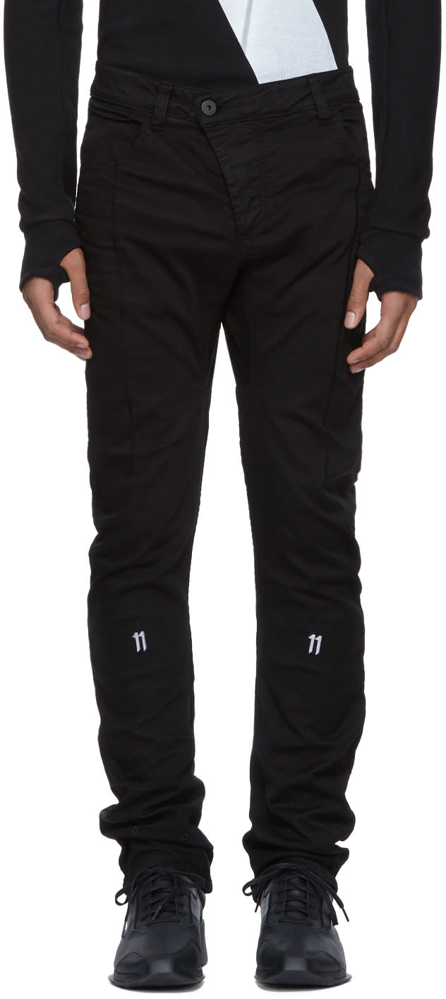 Image of 11 By Boris Bidjan Saberi Black 11 Branded Trousers