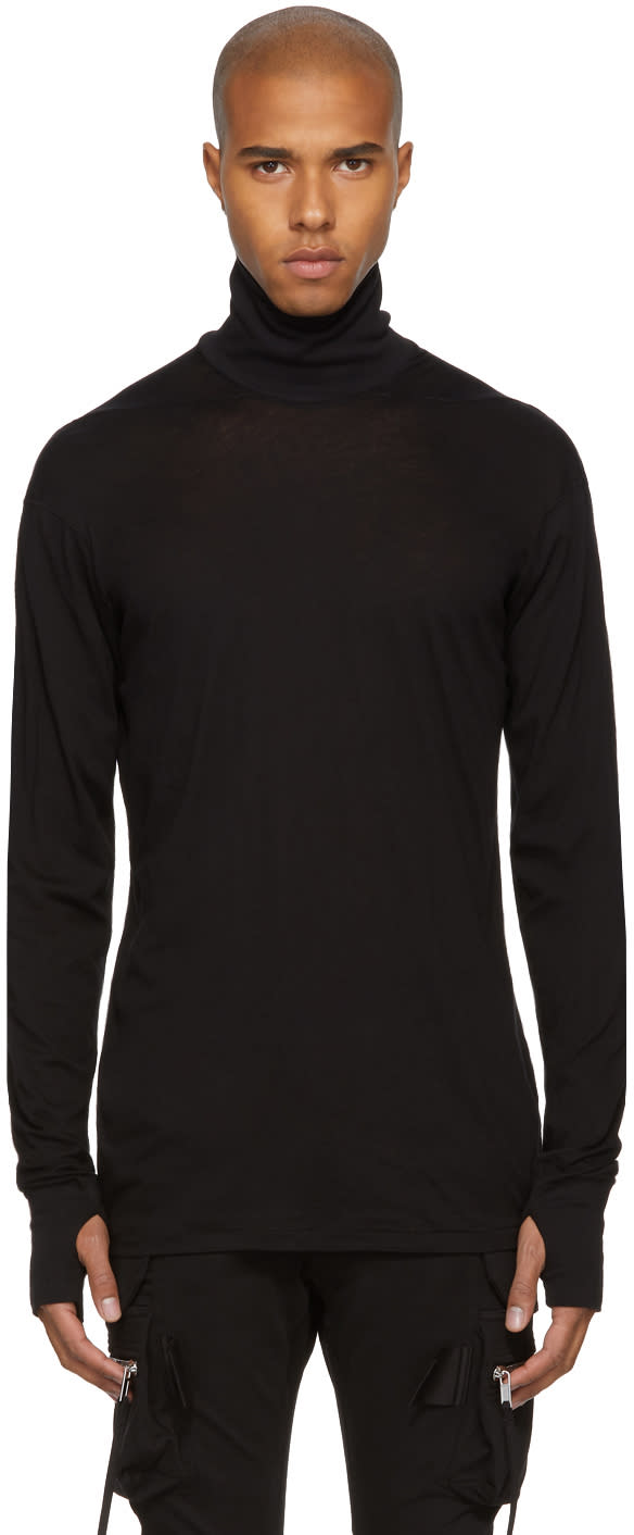 Image of 11 By Boris Bidjan Saberi Black Cotton and Cashmere Turtleneck