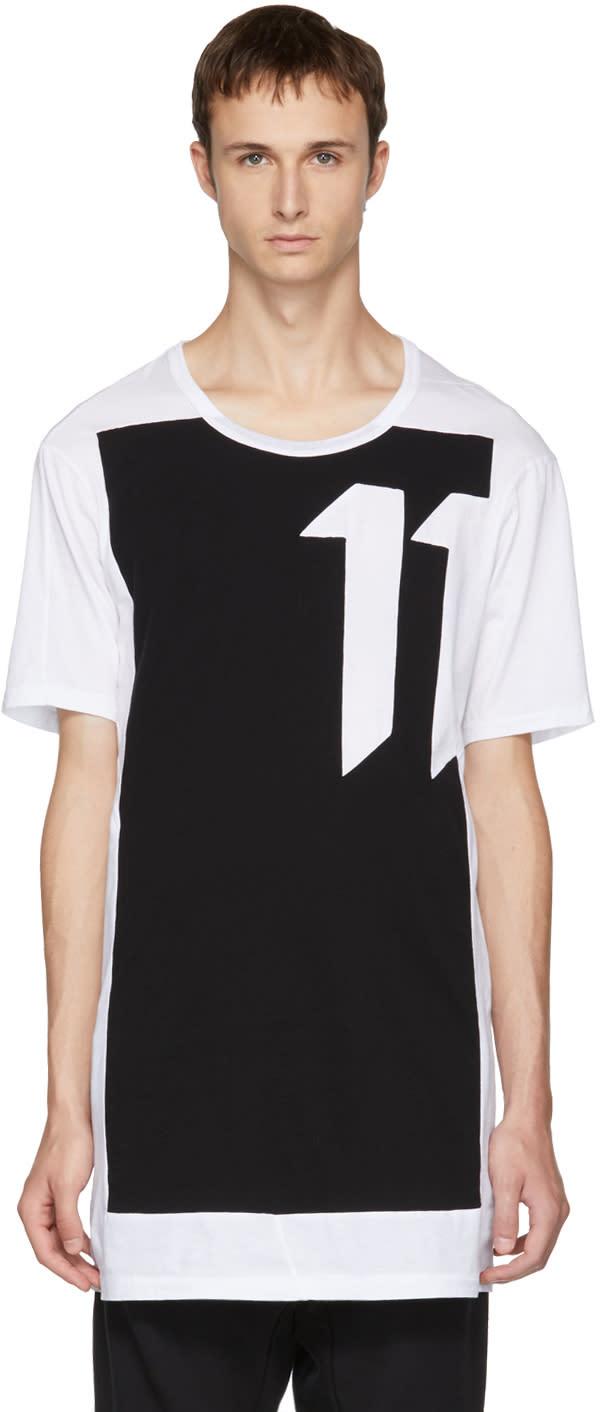 Image of 11 By Boris Bidjan Saberi White and Black blockcut Logo T-shirt