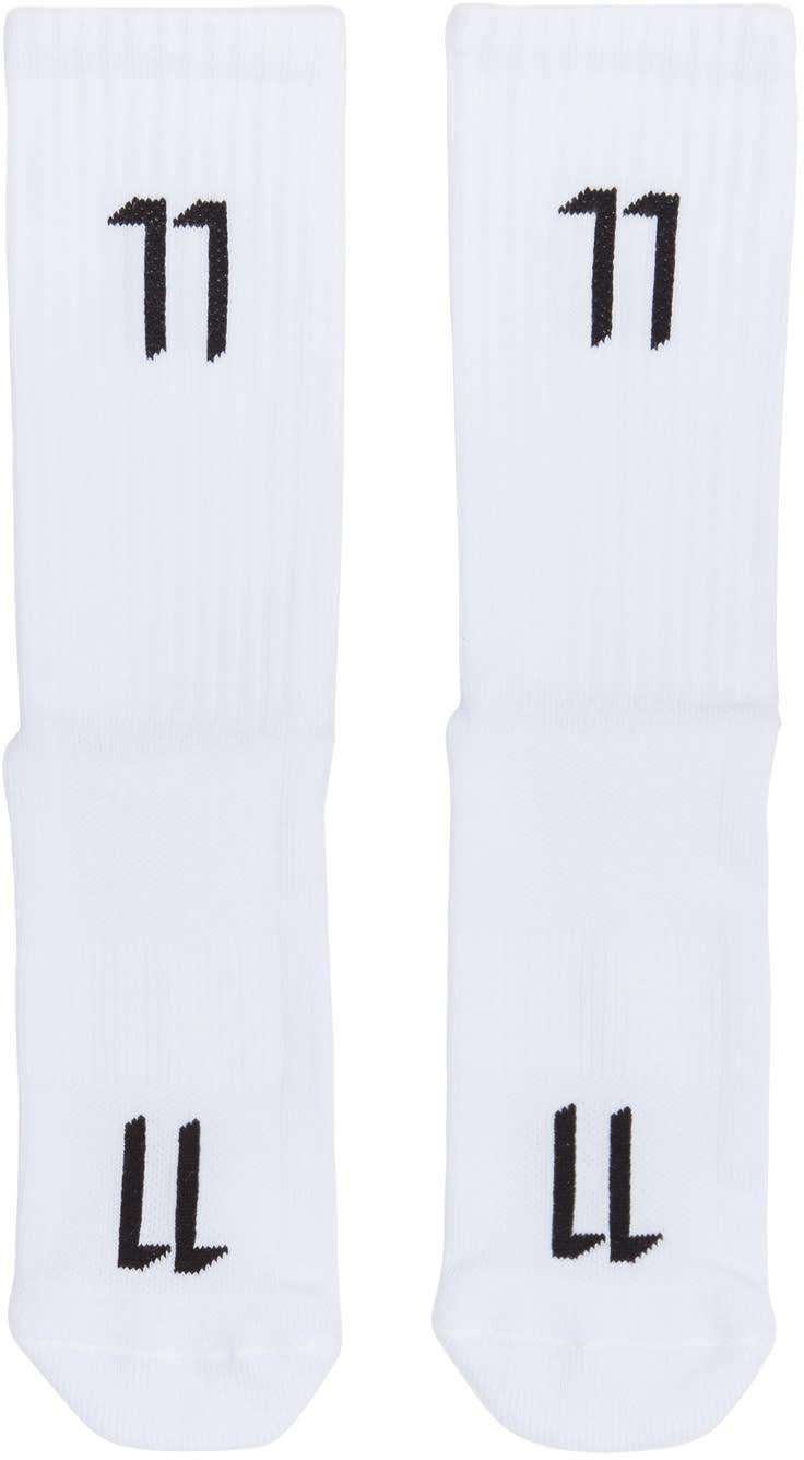 Image of 11 By Boris Bidjan Saberi White Logo Socks