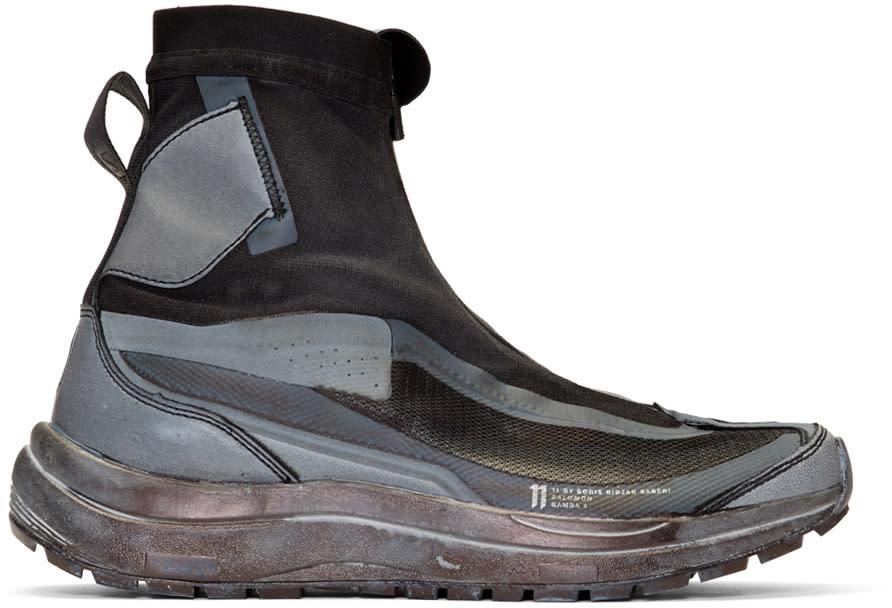 Image of 11 By Boris Bidjan Saberi Black and Grey Salomon Edition Bamba 2 Sneakers