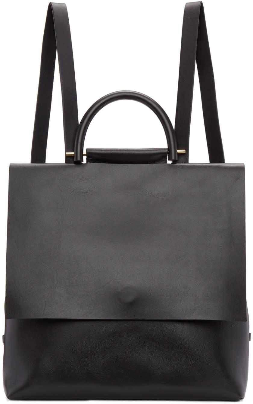 Image of Building Block Black Leather Mini Rucksack