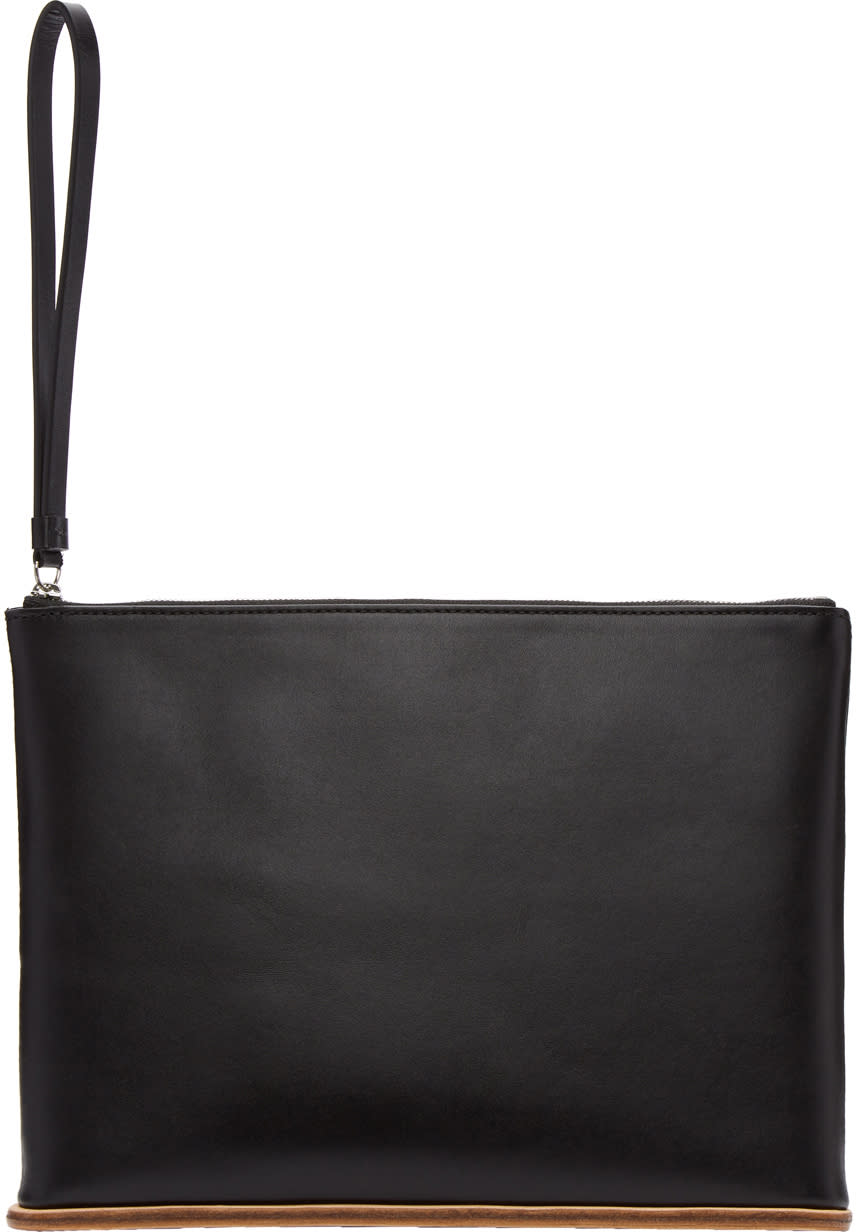 Image of Building Block Black Leather Large Pouch