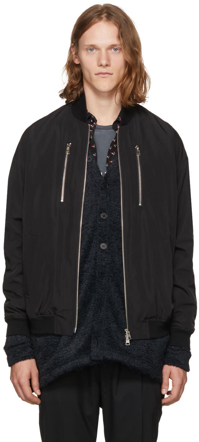 Image of Diet Butcher Slim Skin Black Embroidered Bomber Jacket