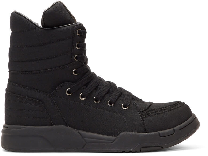 Diet Butcher Slim Skin Black Massive Side Zip High-top Sneakers