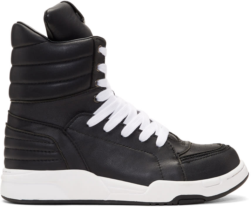 Diet Butcher Slim Skin Black Leather Side Zip High-top Sneakers