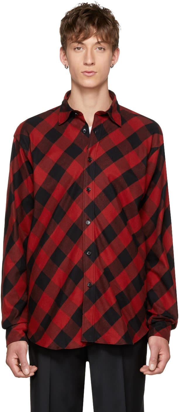 Image of Johnlawrencesullivan Red and Black Plaid Shirt