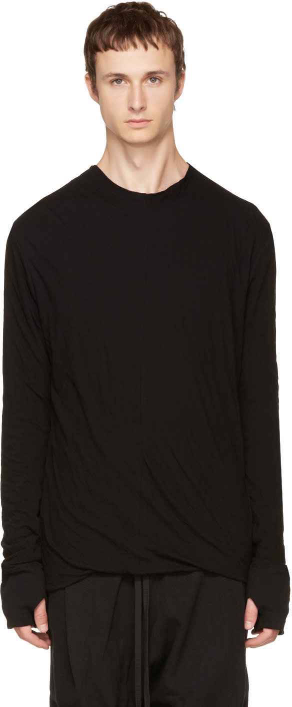 Image of Nude:mm Black Long Sleeve High Neck T-shirt