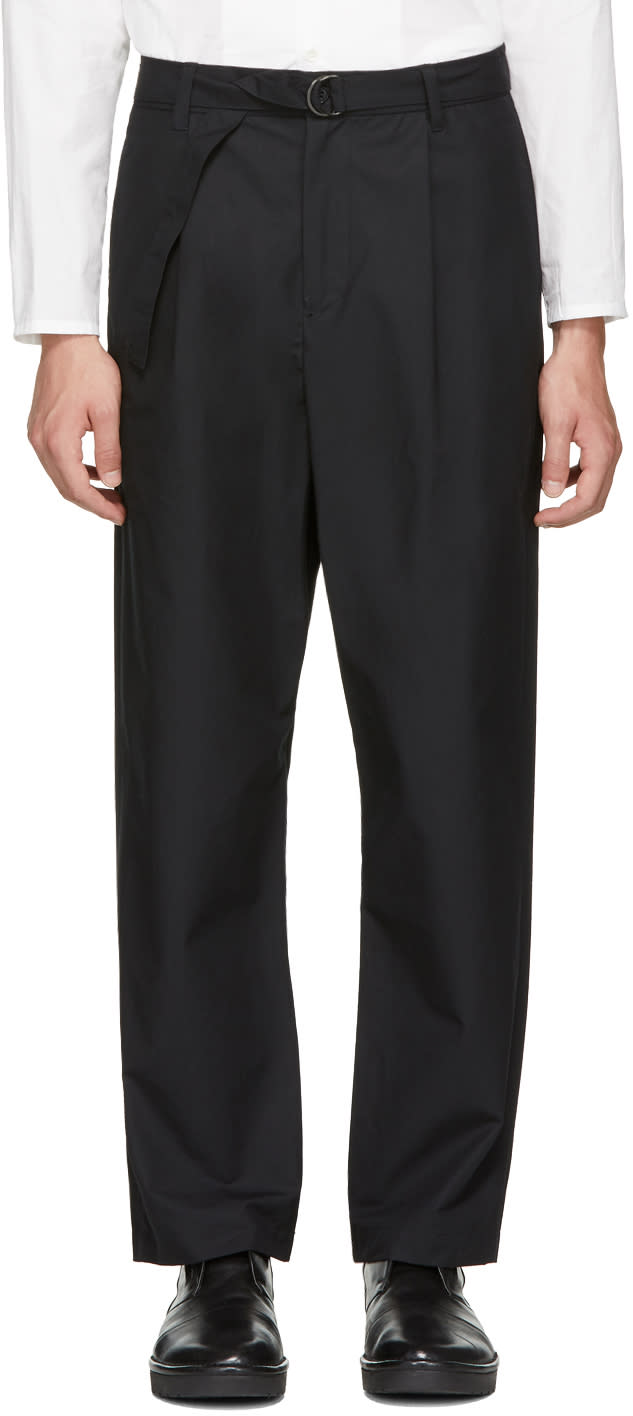Image of Undecorated Man Black Wide Straight Trousers
