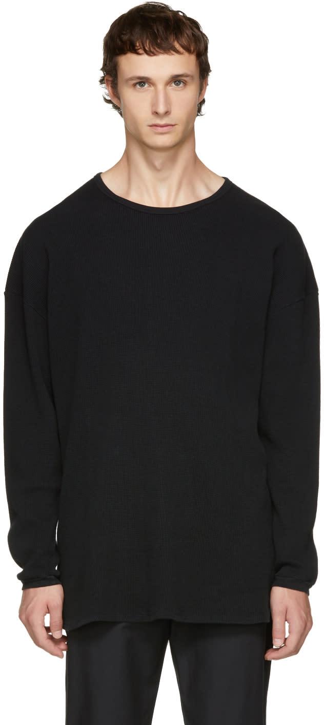 Image of Undecorated Man Black Long Sleeve Oversized Waffle T-shirt