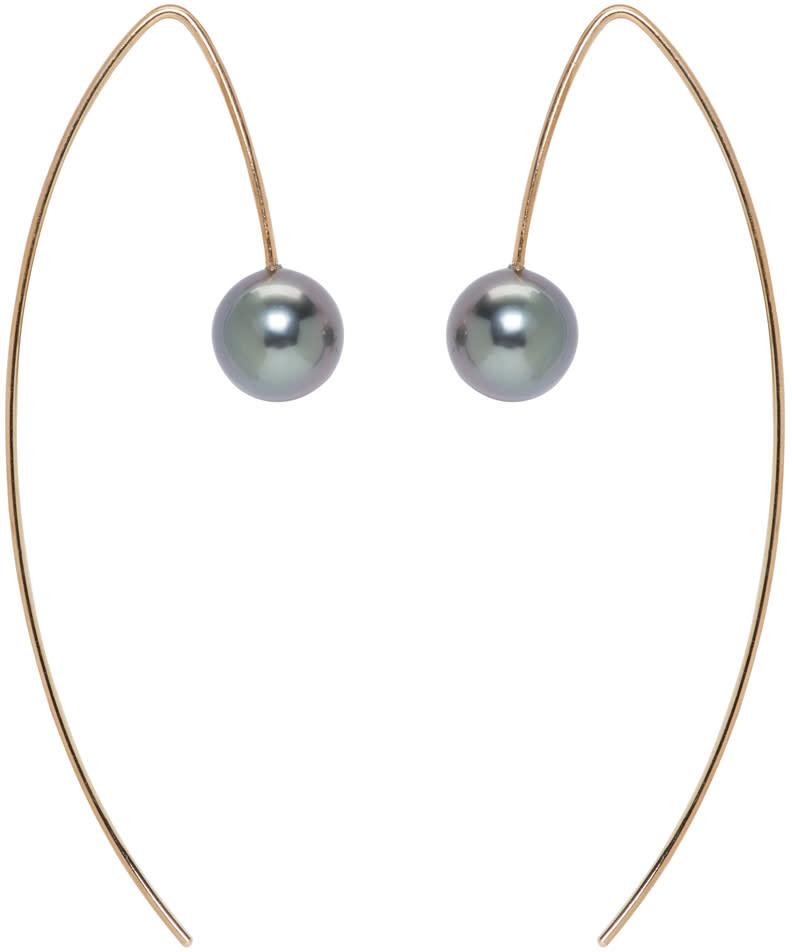 Image of Pearls Before Swine Gold Tahitian Pearl Earrings
