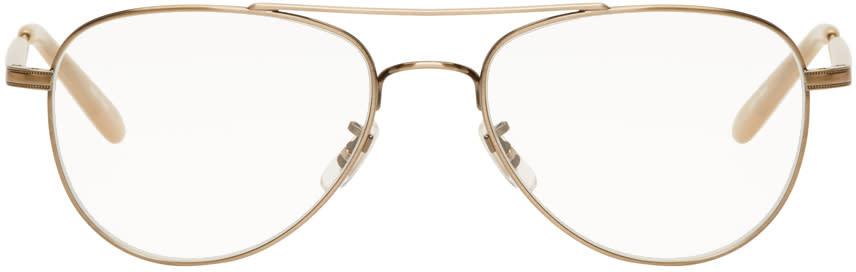 Image of Garrett Leight Gold Linnie Aviator Glasses