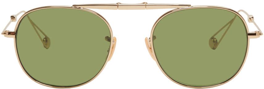 Image of Garrett Leight Gold Van Buren Sunglasses