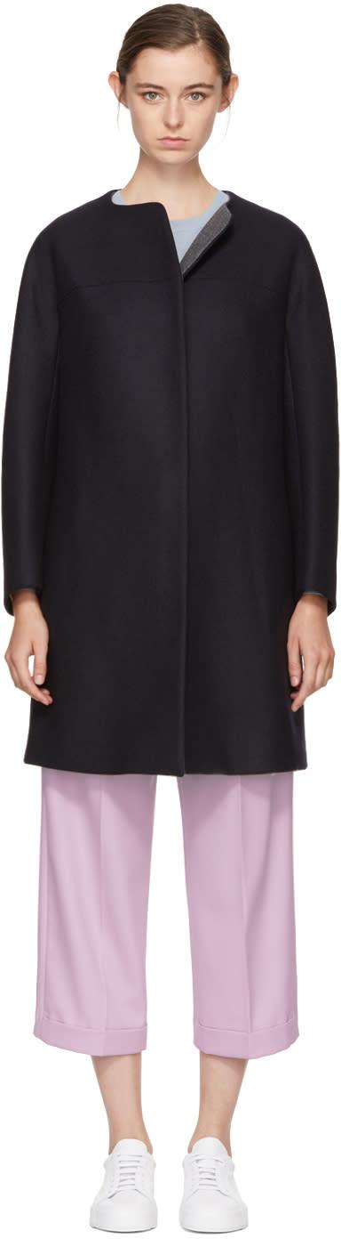 Image of Jil Sander Navy Navy Collarless Wool Coat