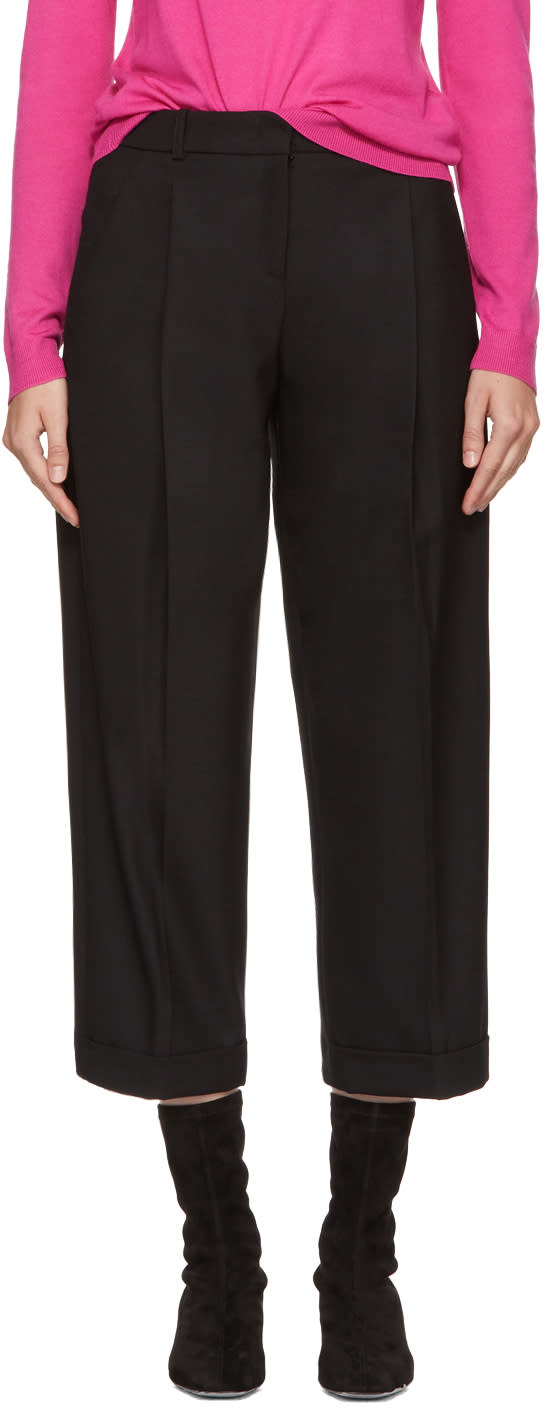 Image of Jil Sander Navy Black Cropped Wide-leg Trousers