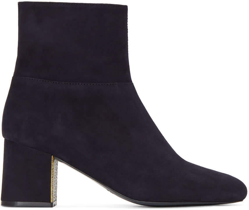Image of Jil Sander Navy Navy Suede Almond Toe Boots
