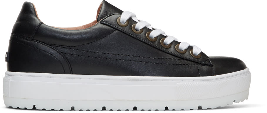Image of Jil Sander Navy Black Leather Platform Sneakers